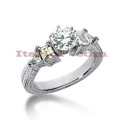 14K Gold Vintage Diamond Engagement Ring 1.10ct