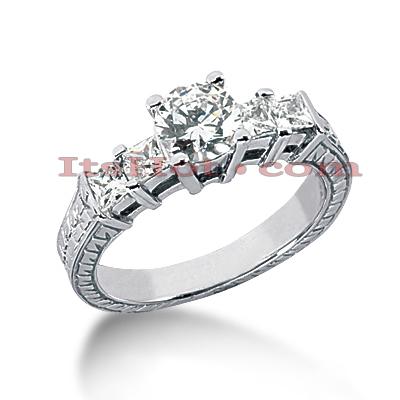 14K Gold Vintage Diamond Engagement Ring 1.31ct