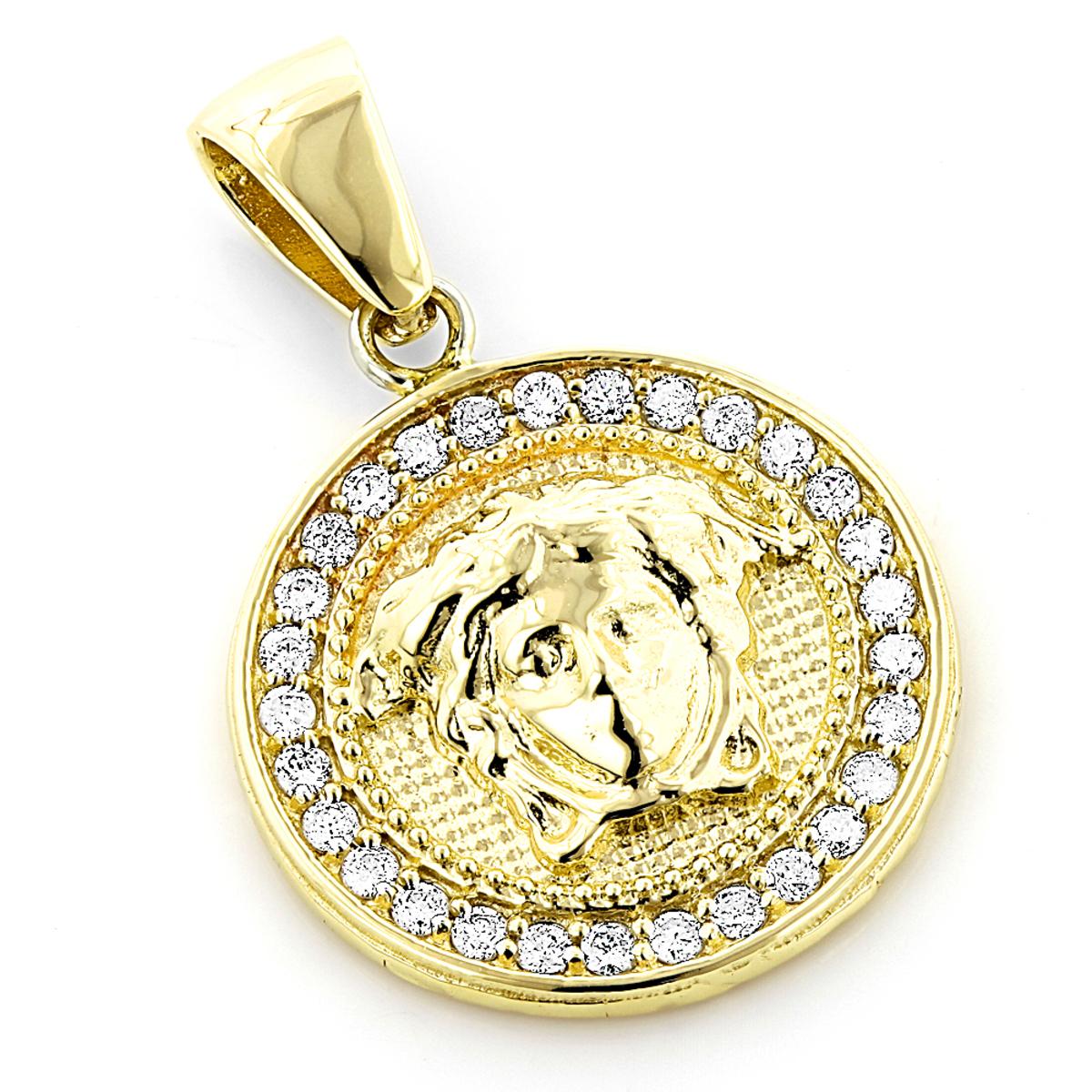 14k gold vintage versace style diamond pendant medusa medallion 2ct aloadofball Gallery