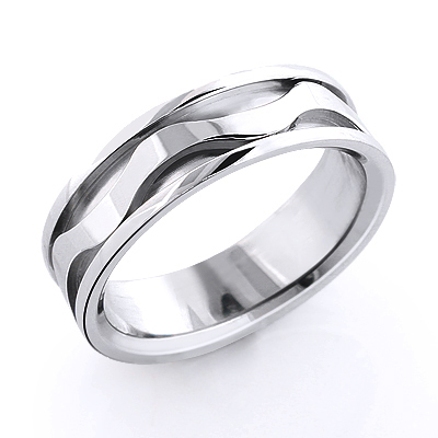 14K Gold Wave Wedding Band for Men