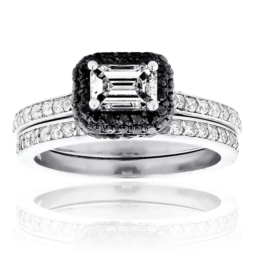 14K Gold White and Black Diamond Unique Engagement Ring Set Emerald Cut