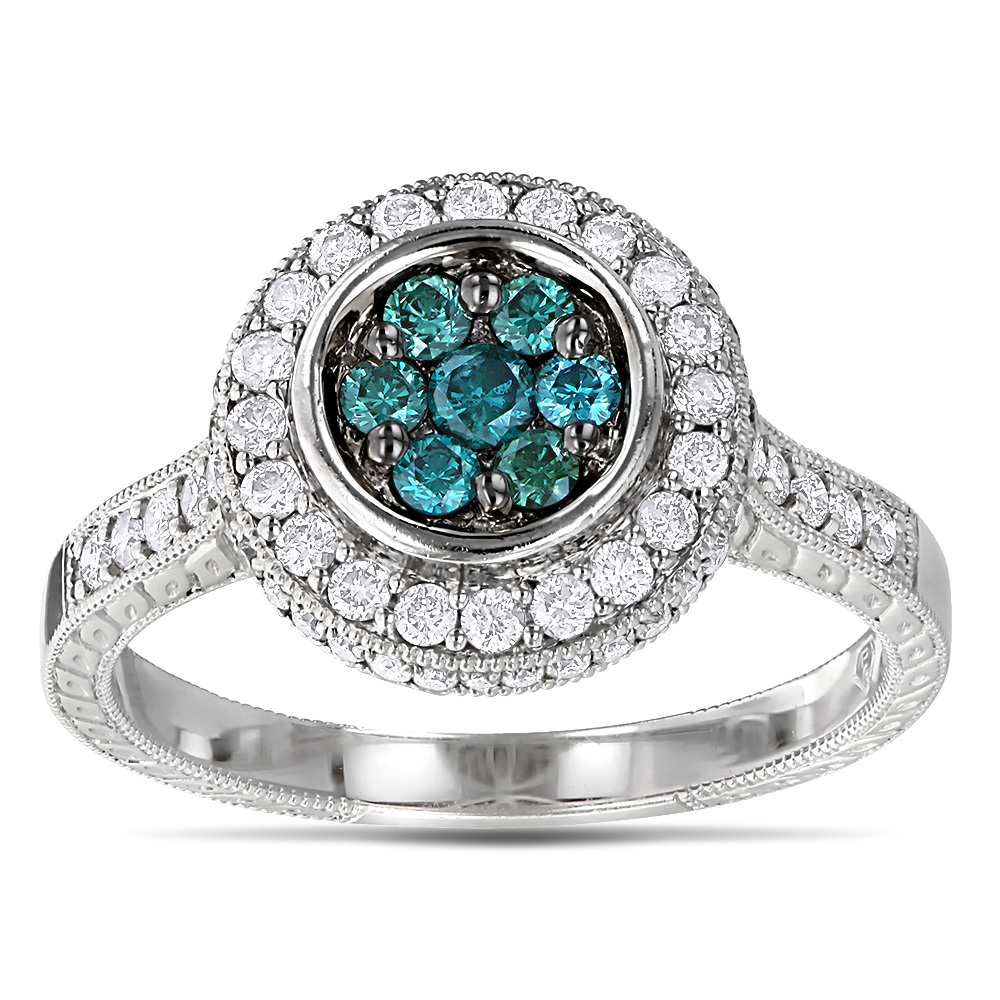 14K Gold White And Blue Diamond Ring For Women 0.8ct Cluster ...