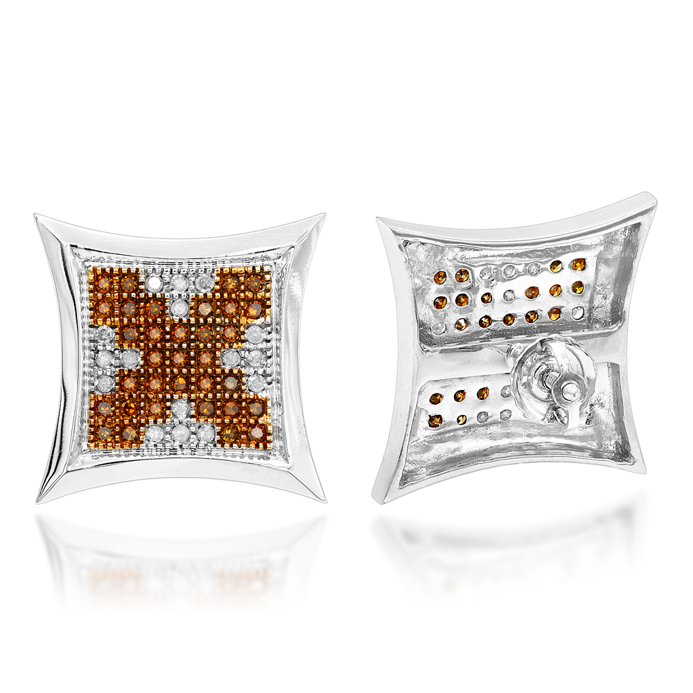 14K Gold White and Brown Diamond Earrings Kite Studs 0.65ct
