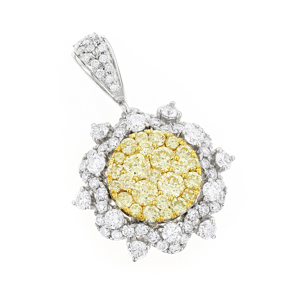 14K Gold White and Yellow Diamond Ladies Flower Pendant 2.3ct
