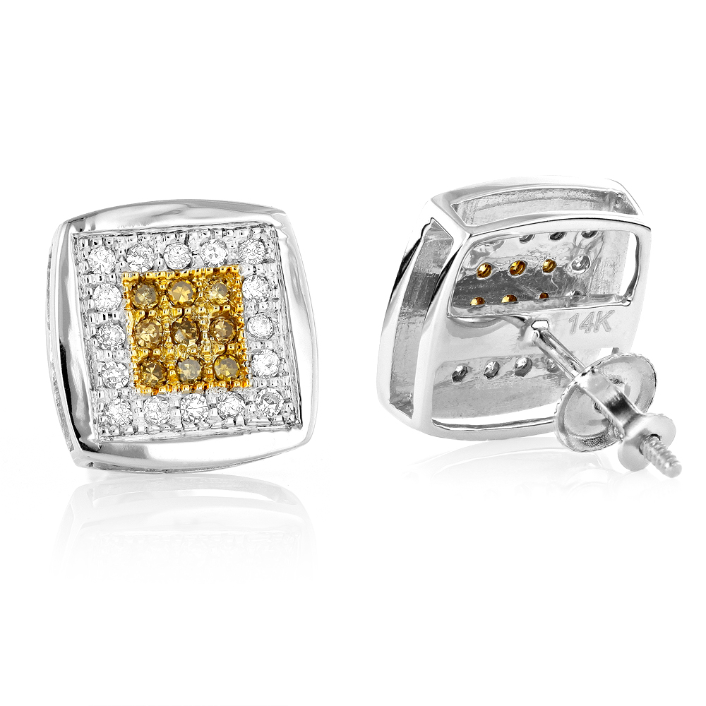 14K Gold White and Yellow Diamond Stud Earrings 0.60ct