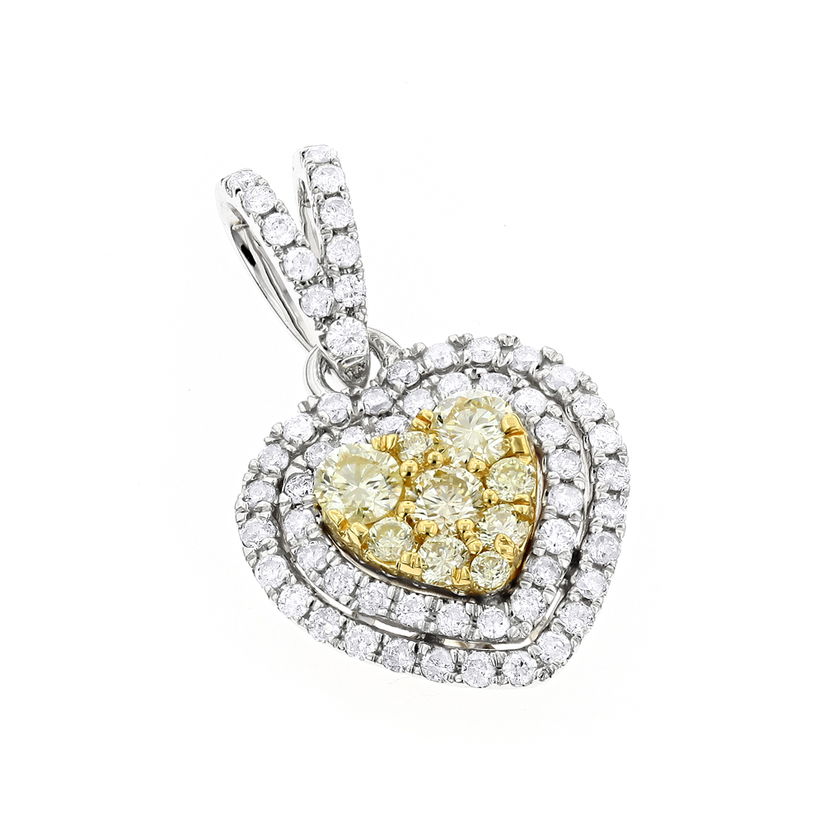 14K Gold White and Yellow Diamonds Heart Pendant for Women 0.88ct
