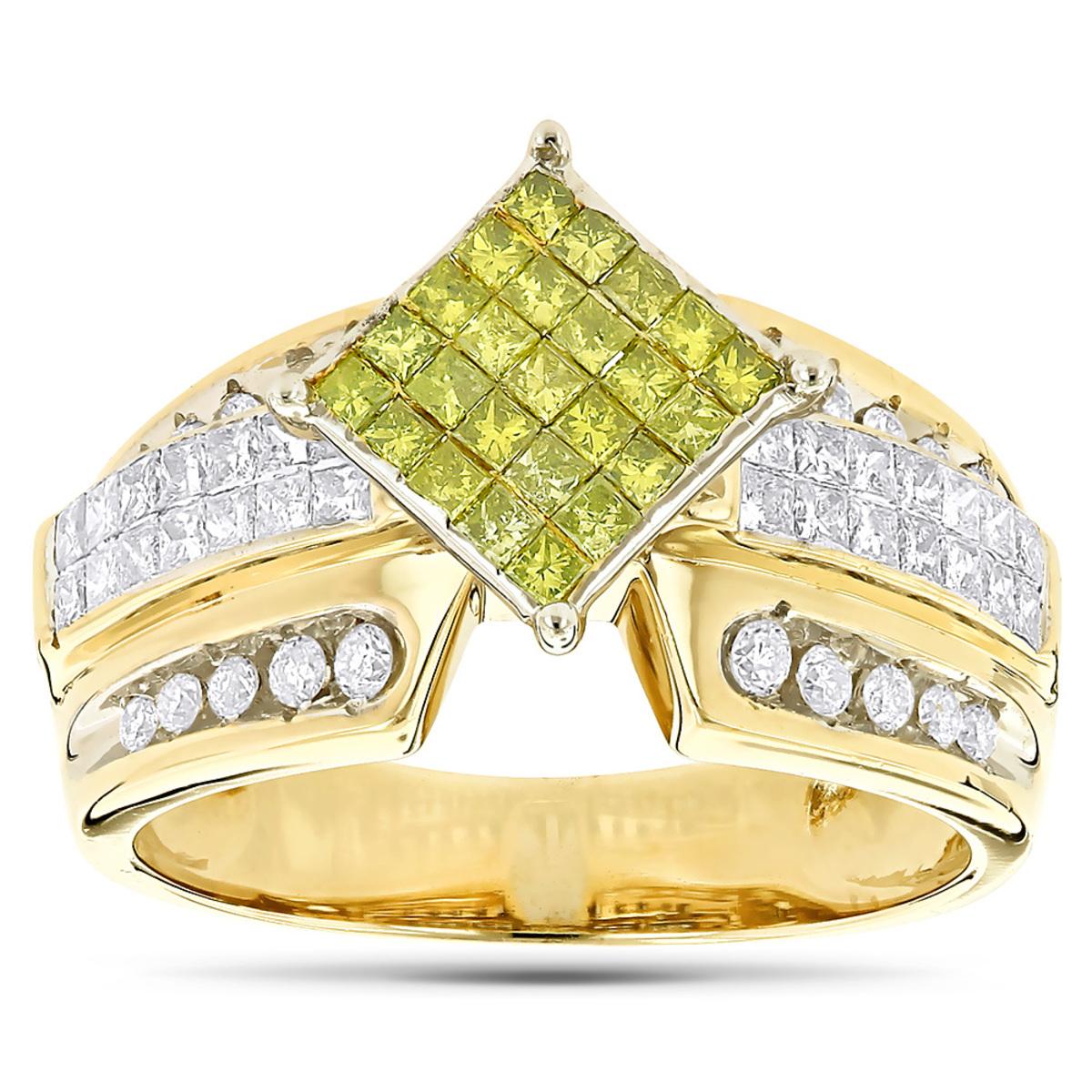 14k Gold White and Yellow Diamonds Ring 1.35ct