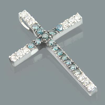 14K Gold White Blue Diamond Cross Pendant 0.86ct
