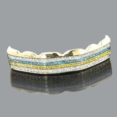 14K Gold White Blue Yellow Real Diamond Grillz 4.73ct