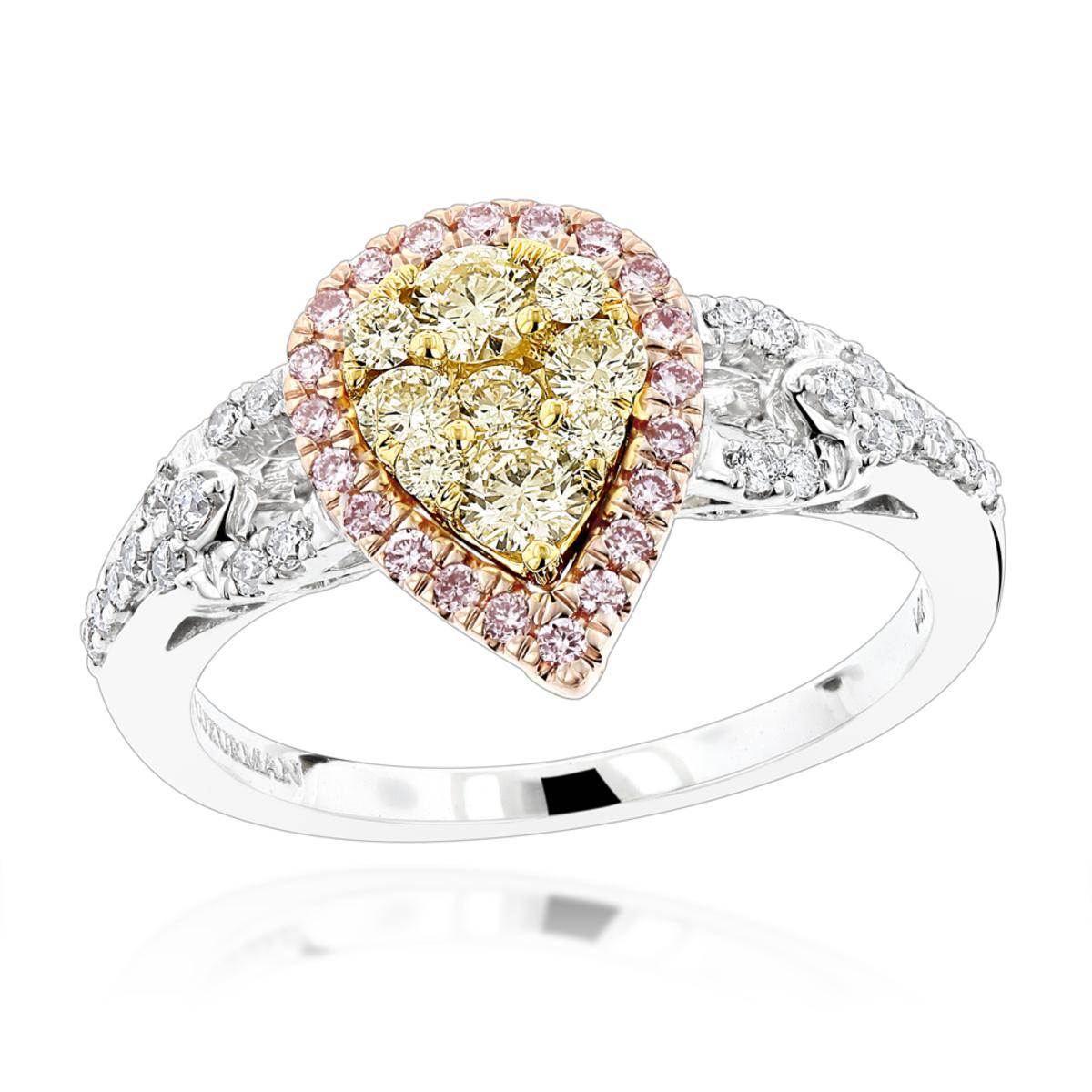 14K Gold White Pink Yellow Diamond Engagement Ring for Women Pear Shape