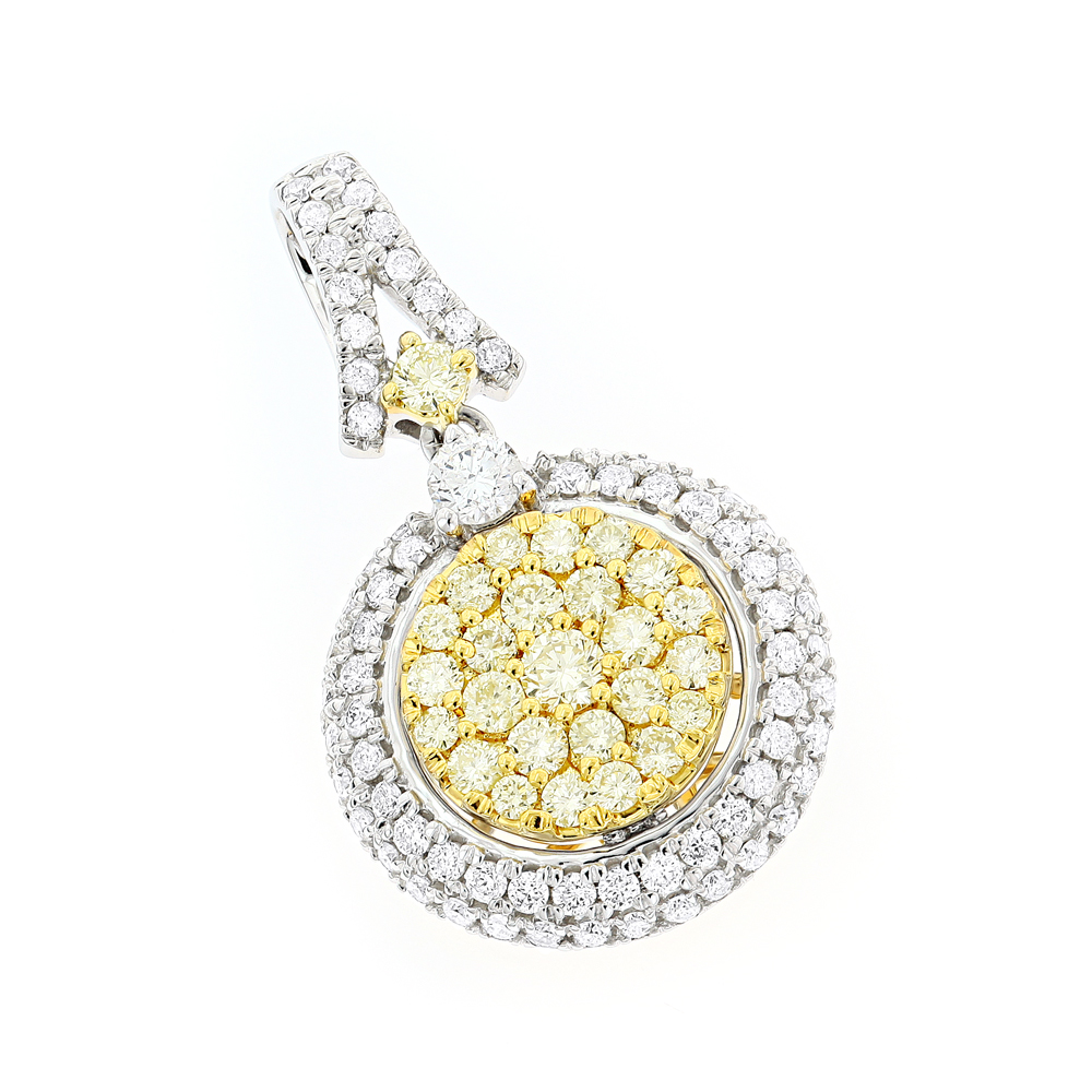 14K Gold  White Yellow Diamond Circle Pendant for Women 1.65ct by Luxurman