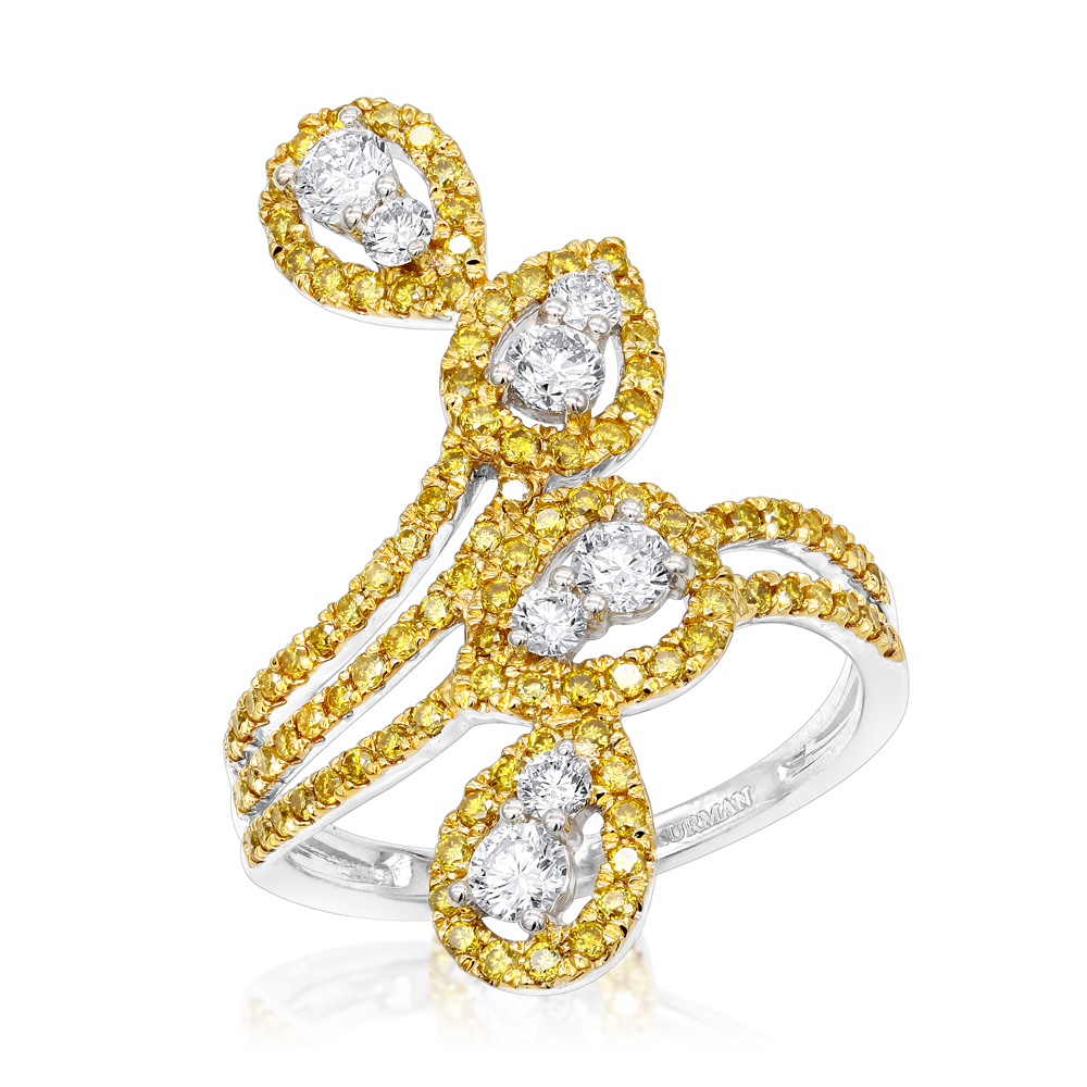 14K Gold White Yellow Diamond Cocktail Ring for Women Floral Design 1.25ct