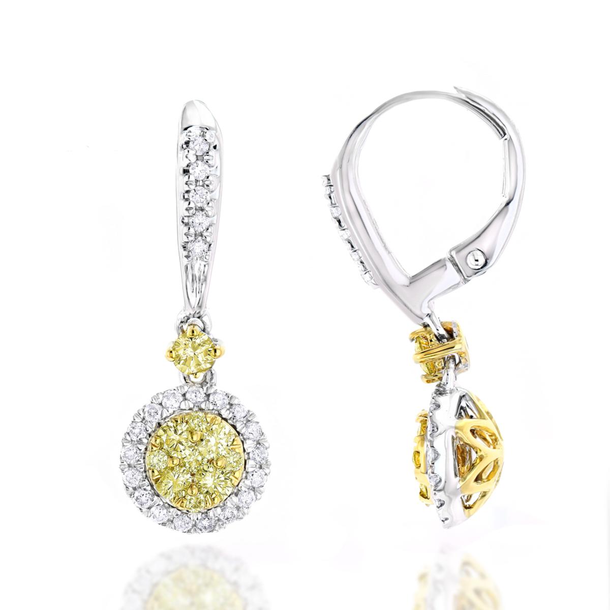 14K Gold White Yellow Diamond Drop Earrings 1.2ct Womens Dangle Hoops