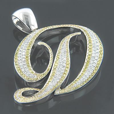 14K Gold White Yellow Diamond Initial D Pendant 7.60ct