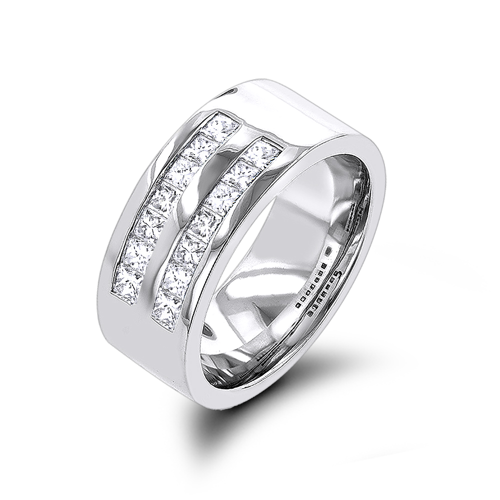 14K Gold Wide Princess Cut Diamond Wedding Band For Men 1.5ct By Luxurman