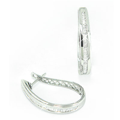 14K Gold Womens Baguette Diamond Hoop Earrings 0.60ct