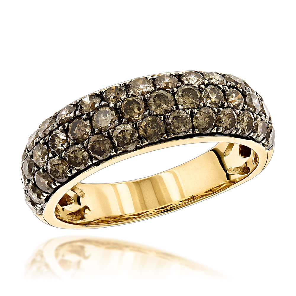 14K Gold Womens Champagne Diamond Ring 2.1ct
