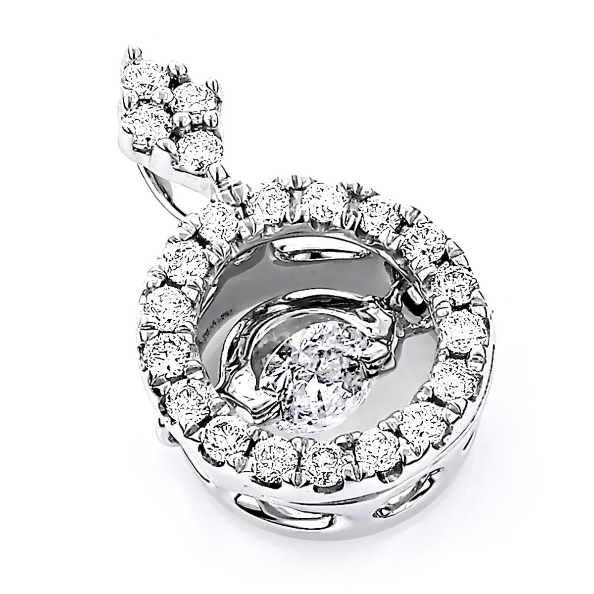 14K Gold Women's Circle Dancing Diamond Pendant 0.4ct