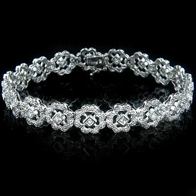 14k Gold Womens Diamond Bracelet 2.49ct