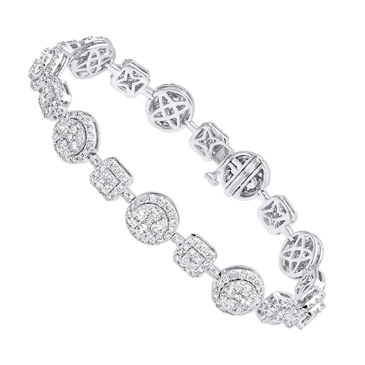 14k Gold Womens Diamond Bracelet 6 Carat Pave Diamonds by Luxurman