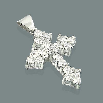 14K Gold Womens Diamond Cross Pendant 2.12ct