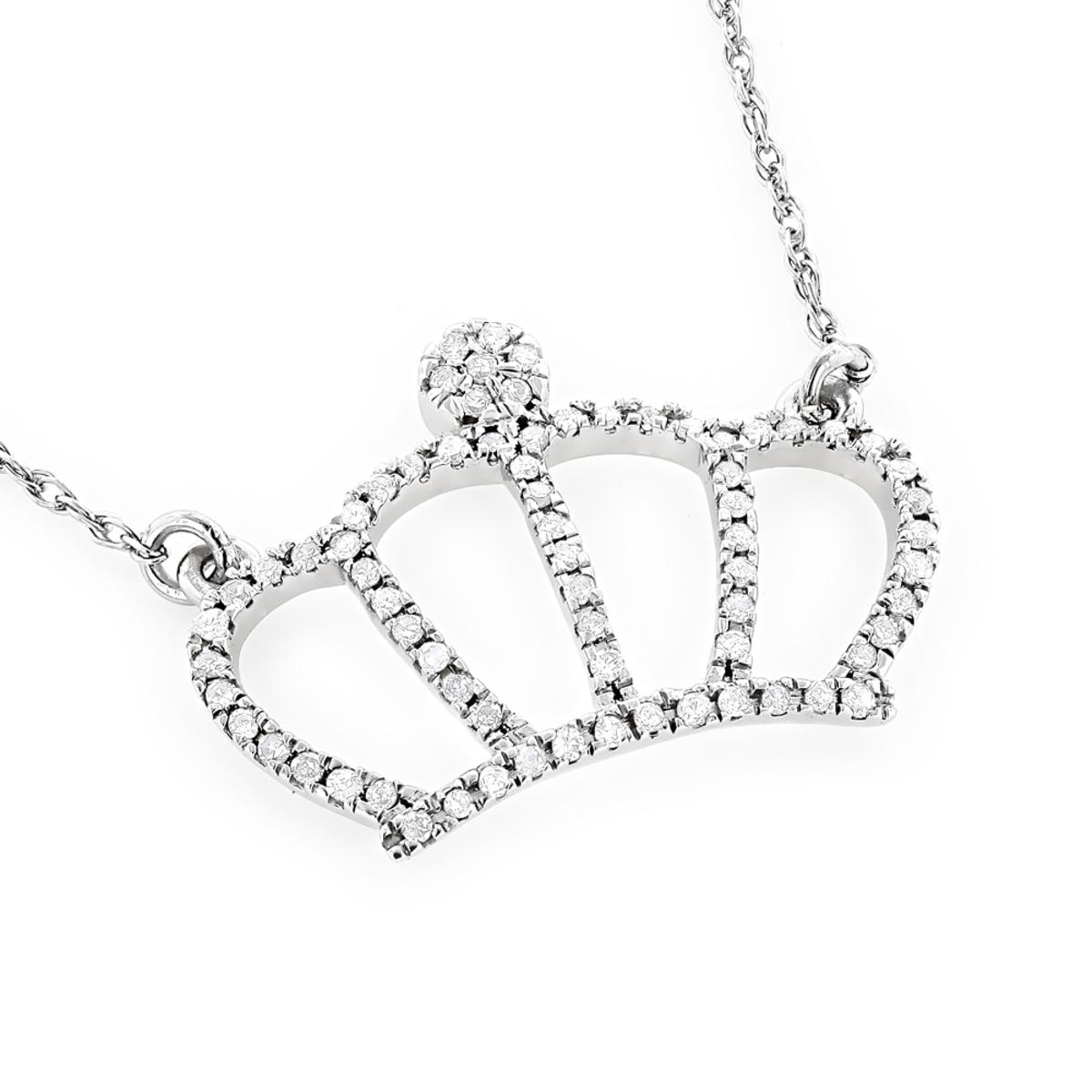 14K Gold Womens Diamond Crown Pendant Necklace 0.15ct