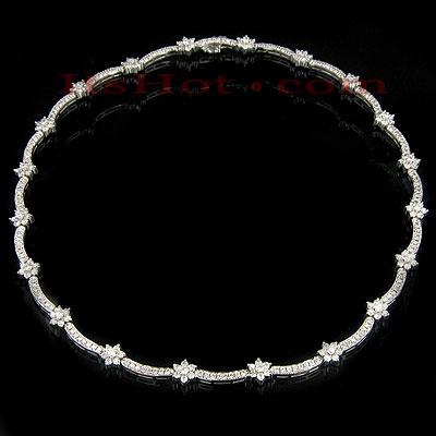 14K Gold Womens Diamond Flower Necklace 9.00ct