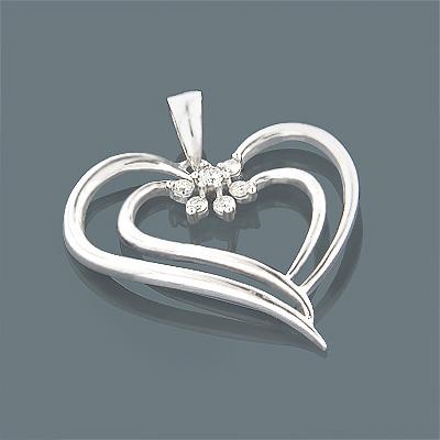 14K Gold Womens Diamond Heart Pendant 0.20ct