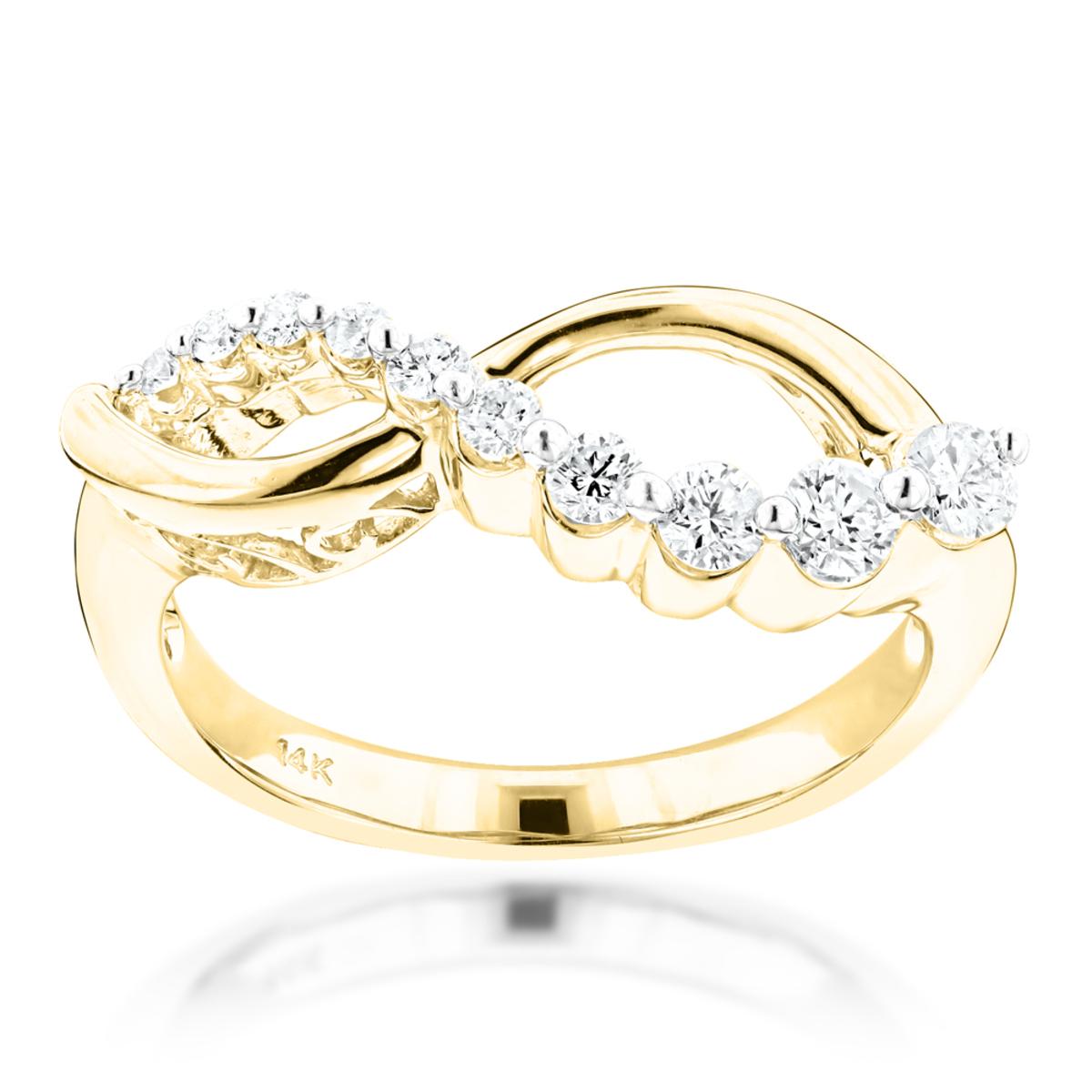 14K Gold Womens Diamond Journey Ring 0.4ct