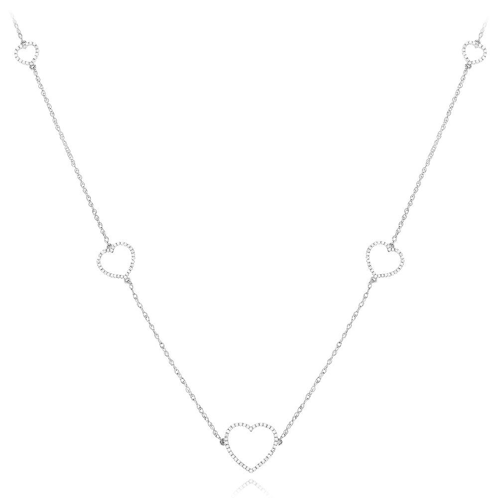 14K Gold Womens Diamond Necklace Heart Design 0.25ct