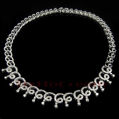 14K Gold Womens Diamond Necklace Swirl Motif 9.18ct