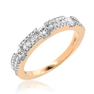 Thin 14K Gold Women's Diamond Wedding Band 0.76ct