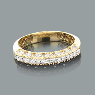 14K Gold Womens Diamond Wedding Band Milgrain .33ct