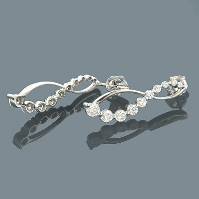 14K Gold Womens Journey Diamond Earrings 1.05ct