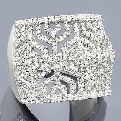 14K Gold Womens Pave Diamond Ring 1.35ct