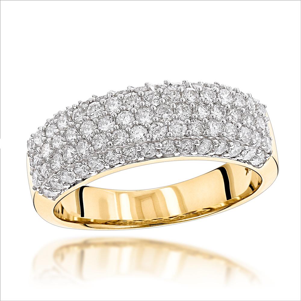 14K Gold Womens Pave Diamond Ring Round Diamonds 1.15ct