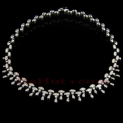 14K Gold Womens Round Diamond Drop Necklace 6.23ct