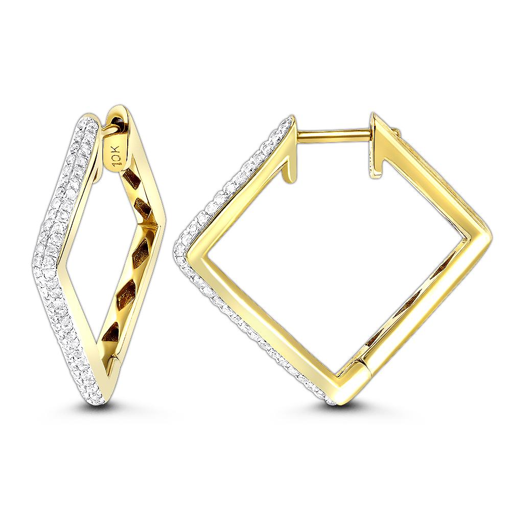 14K Gold Womens Round Pave Kite Diamond Hoop Earrings 0.65ct