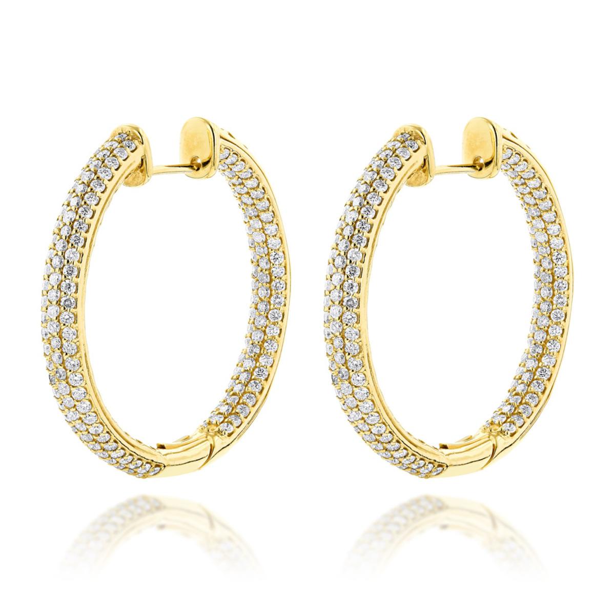 14K Gold Large Inside Out Diamond Hoop Earrings 6ct