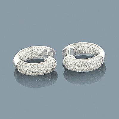 14K Inside Out Diamond Hoop Huggie Earrings 0.92ct