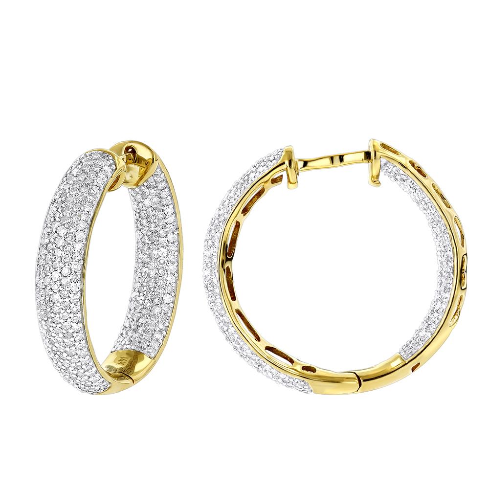14K Inside Out Pave Diamond Hoop Earrings 1.5ct