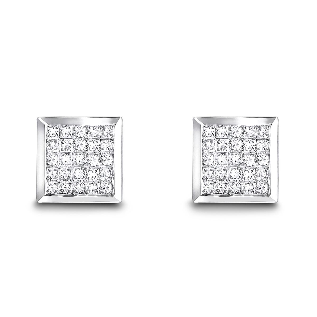 14K Invisible Set Princess Diamond Stud Earrings 0.55ct