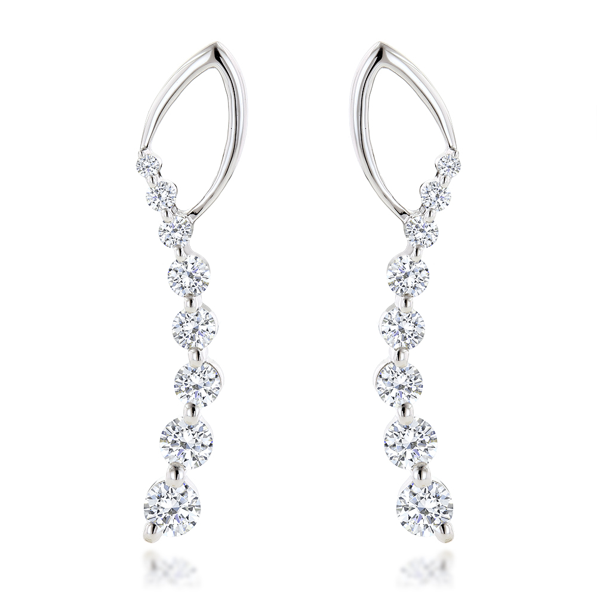 Journey Diamond Earrings For Women in 14k Gold 1.1ct