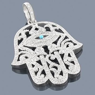 14K Large Hamsa Hand Diamond Pendant 1.51ct