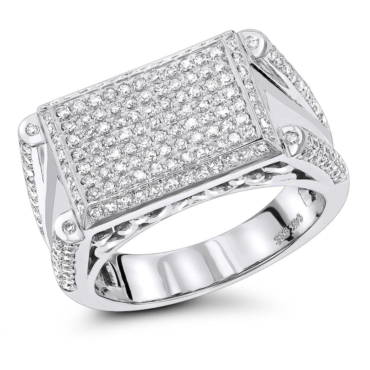 14K Mens Designer Diamond Ring 1.10ct