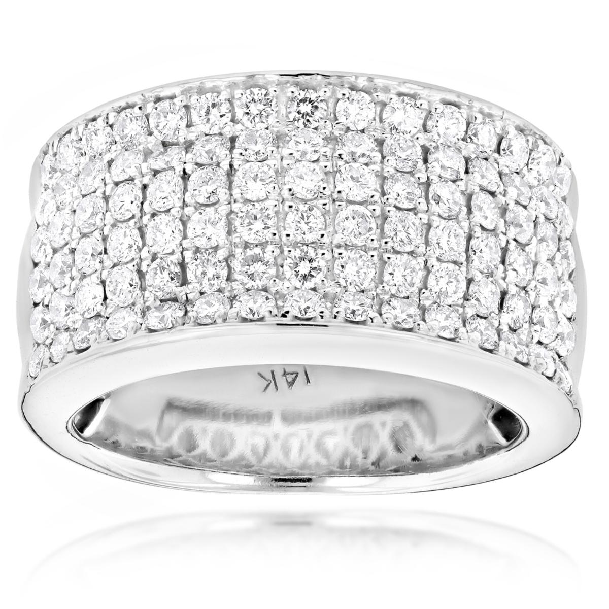 14K Gold Mens Designer Diamond Wedding Band 2.05ct
