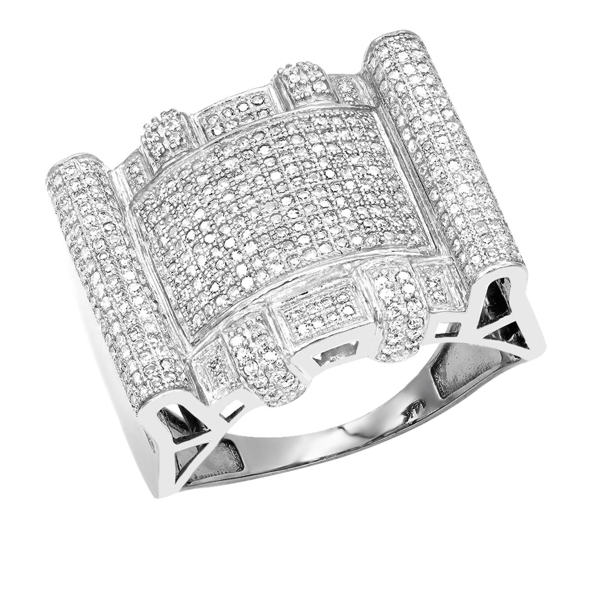 14K Mens Genuine Diamond Ring 1.1 ct