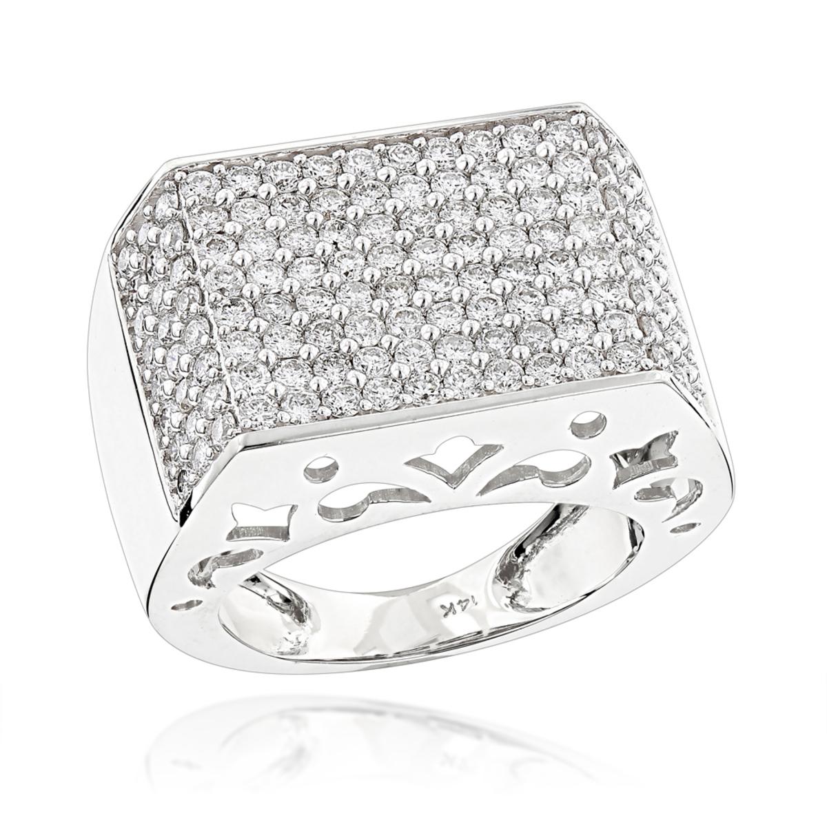 14K Gold Pave Diamond Ring For Men 4 Carat by Luxurman