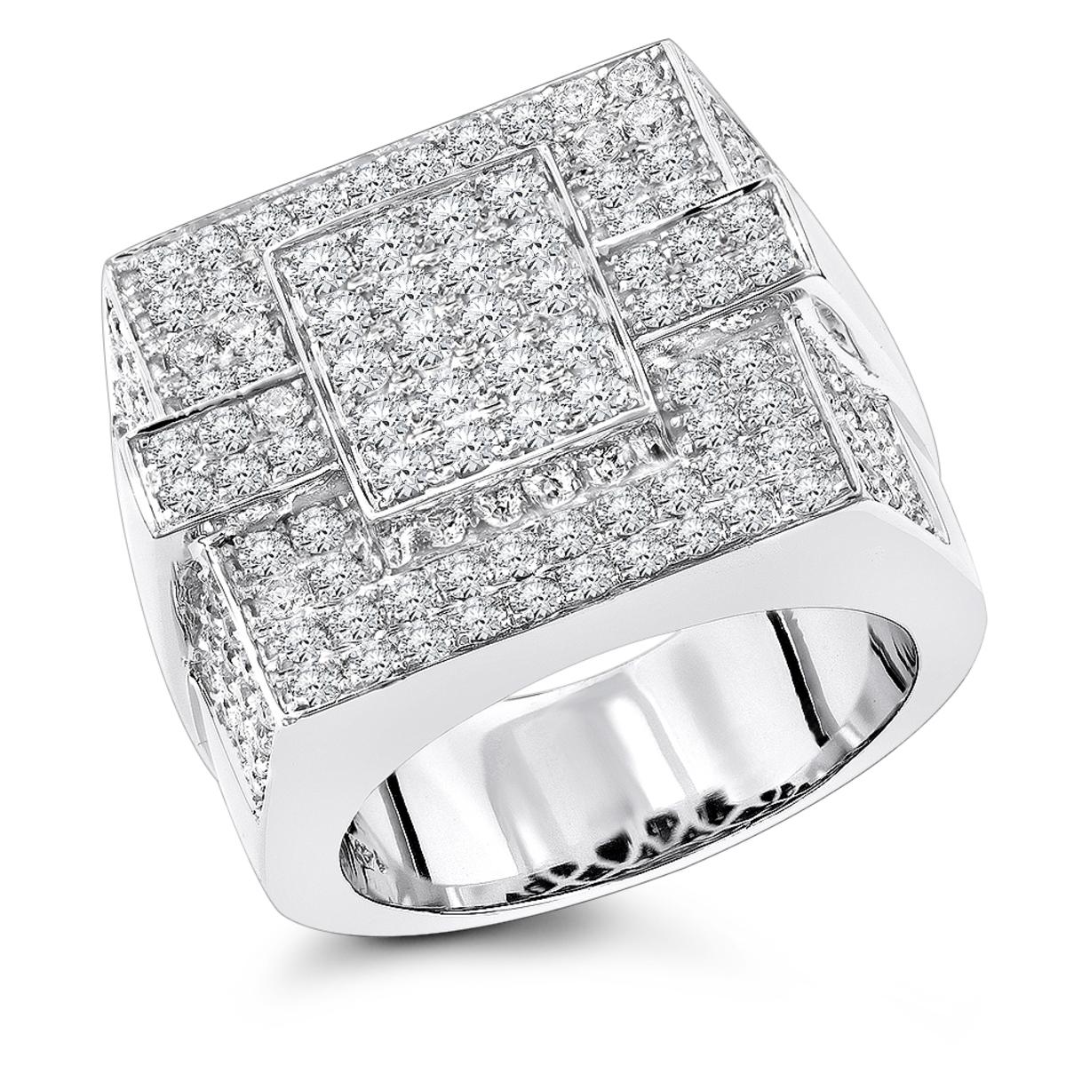 14K Gold Mens Pave Diamond Ring 4 Carats of Diamonds