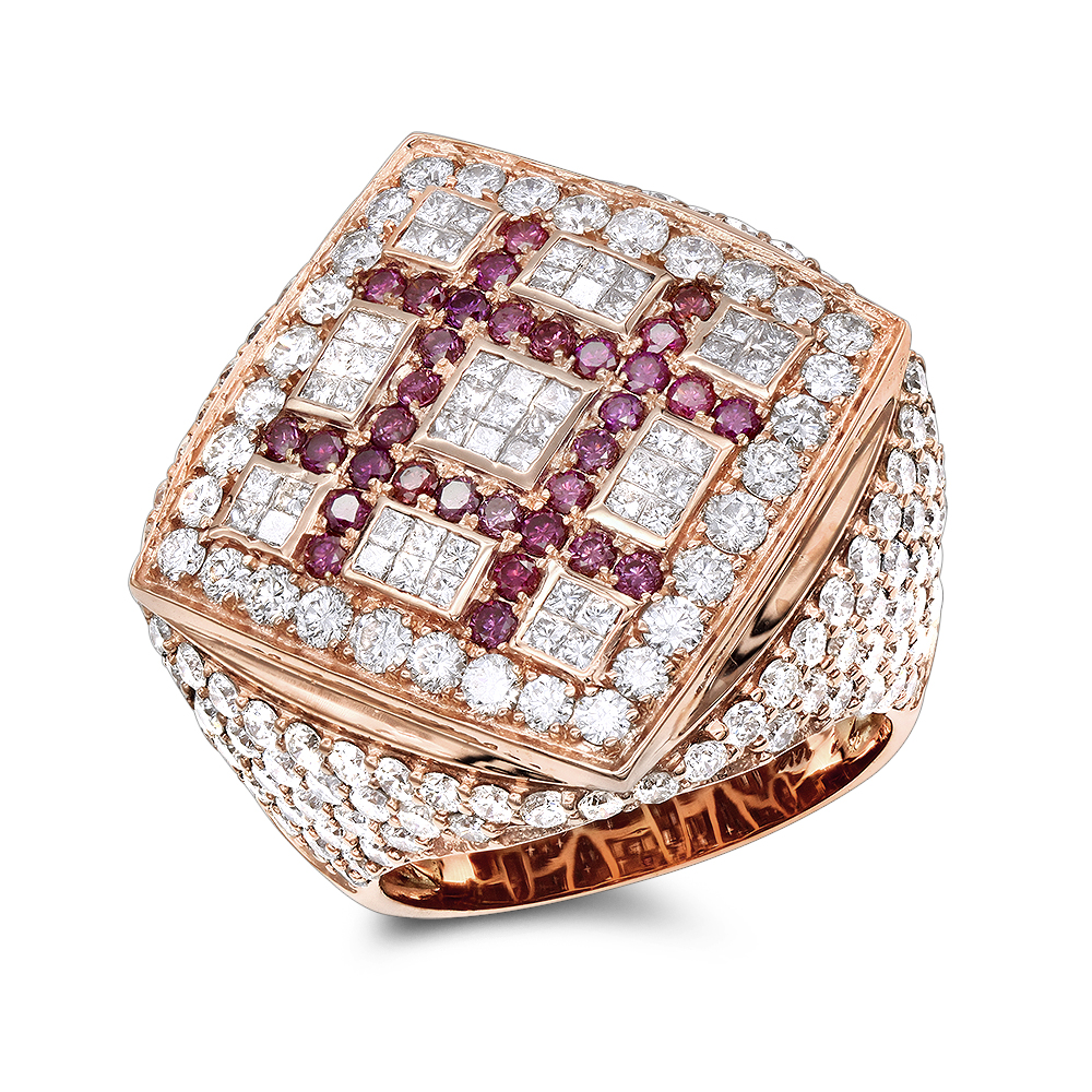 Unique 14K Gold Mens White Pink Criss Cross Diamond Ring 7.13ct